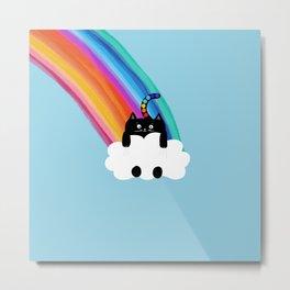 Cat Rainbow Metal Print