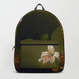 A Vase Of Corn Lilies And Heliotrope 1863 By Martin Johnson Heade   Reproduction Backpack