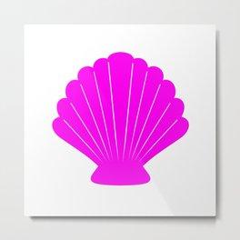 Seashell (Magenta & White) Metal Print