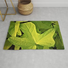 Golden Green Oak Leaves Rug
