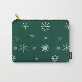 Christmas season forest green white snowflakes pattern Carry-All Pouch