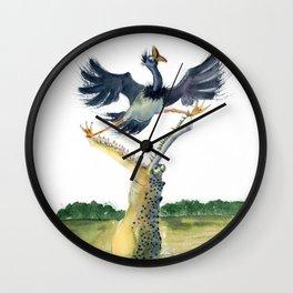 crocodile and bird Wall Clock