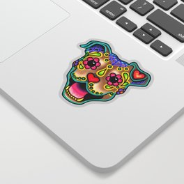 Smiling Pit Bull in Fawn - Day of the Dead Pitbull Sugar Skull Sticker