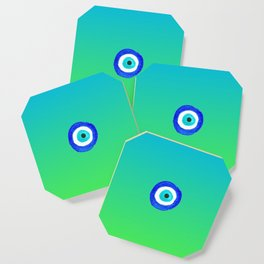 Single Evil Eye Amulet Talisman Ojo Nazar - ombre lime to tuquoise Coaster