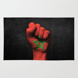 Moroccan Flag on a Raised Clenched Fist Rug