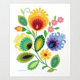 Polish Folk Flowers Yellow Art Print