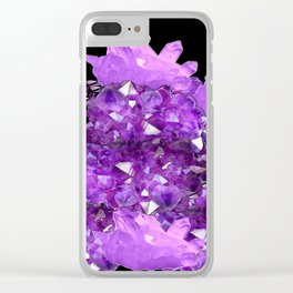 AWESOME PURPLE AMETHYST CRYSTAL CLUSTER Clear iPhone Case