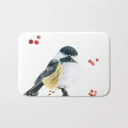 Christmas Chickadee by Teresa Thompson Bath Mat