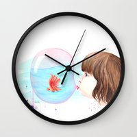 bubblegum Wall Clocks featuring Bubblegum by Vanessa Lim