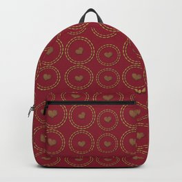 Burgundy & Copper Heart Pattern Backpack