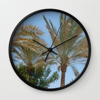 palm trees Wall Clocks featuring Palm Trees by MehrFarbeimLeben