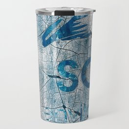 Textures And Chipped Paint In Blue And White Travel Mug
