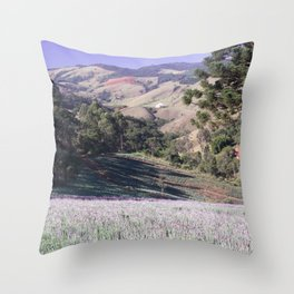 Lavenders and mountains Throw Pillow