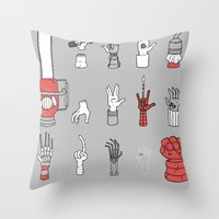 lotr Throw Pillows featuring Give Me A Hand by Derek Eads