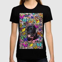 Abby in Butterflies - Black Labrador Dog T-shirt
