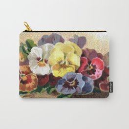 Vintage Pansies Carry-All Pouch