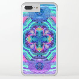 Purple Glow Wood Mandala Clear iPhone Case