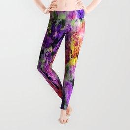 Elegant Rainbow Floral Abstract Leggings