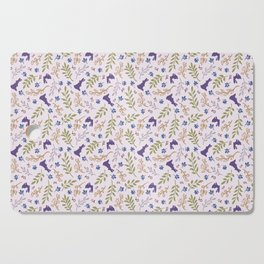 Ditsy Bunnies Amok - Purple Bunnies, Pink Background Cutting Board