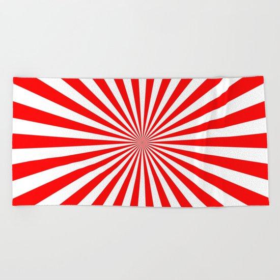 Starburst (Red/White) Beach Towel