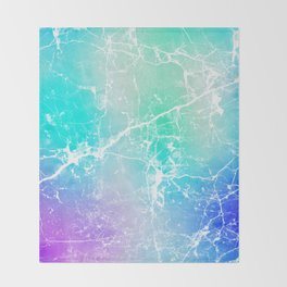 Modern turquoise purple watercolor abstract marble Throw Blanket