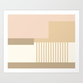 Sol Abstract Geometric Print in Tan Art Print