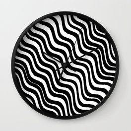 Black and White Modern Sleek Bold Minimal Minimalistic Design Pattern Hand Drawn Swirl Lines Wall Clock