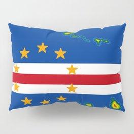 Cape Verde Flag with Map of the Cape Verde Islands Pillow Sham