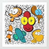 cartoon Art Prints featuring Cartoon by John's Michelle