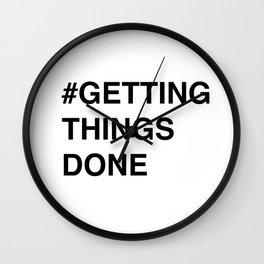 #gettingthingsdone in white Wall Clock