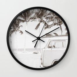 Retro Camper Van With Surf Board Black & White Wall Clock