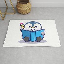 Cute Penguin Writing Book Icon Illustration Animal Icon Concept Isolated Flat Cartoon Style Rug