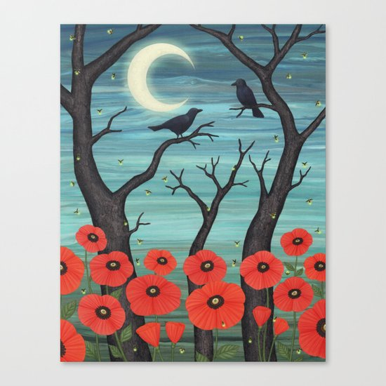 crows, fireflies, and poppies in the moonlight Canvas Print