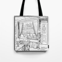 puppies Tote Bags featuring Corgi puppies by Agy Wilson