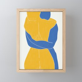 Lovers Nude Blue and Yellow- Minimal Line Drawing  Framed Mini Art Print