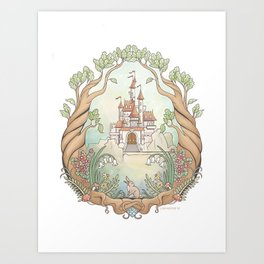 Castle in a Magical Forest Kingdom Art Print