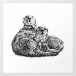 Cuddling Otters Art Print