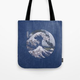The Great Wave off Kanagawa Blue Tones Tote Bag