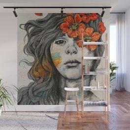 Softly Spoken Agony | flower girl pencil portrait Wall Mural
