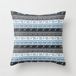Pew Pew Gun Ugly Christmas Sweater Pattern Throw Pillow