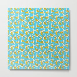 Cool Yellow Banana Fruit Pattern on Aqua Blue Metal Print