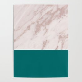 Real Rose Gold Marble and Biscay Bay Poster