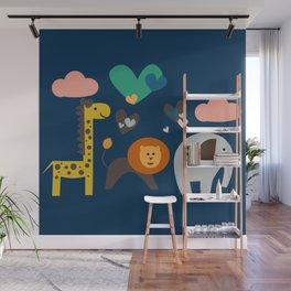 Jungle Run Blue Wall Mural