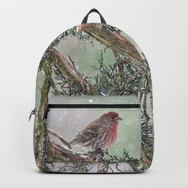 Two Finches in a Snowstorm Backpack