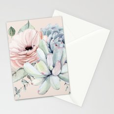 Elegant Blush Pink Succulent Garden by Nature Magick Stationery Cards