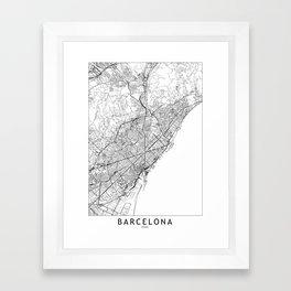 Barcelona White Map Framed Art Print