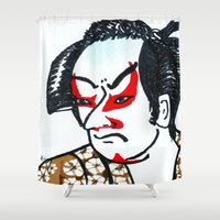 samurai Shower Curtains featuring samurai by winnie patterson