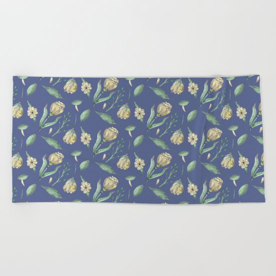 FLOWERS WATERCOLOR 3 Beach Towel