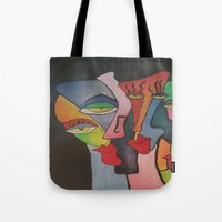 faces Tote Bags featuring faces by loomy