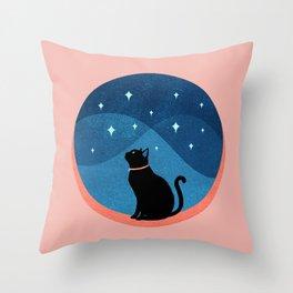 Abstraction_CAT_NIGHT_SKY_STARS_Minimalism_001 Throw Pillow